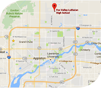 A map of Appleton, WI pointing to Fox Valley Lutheran High School