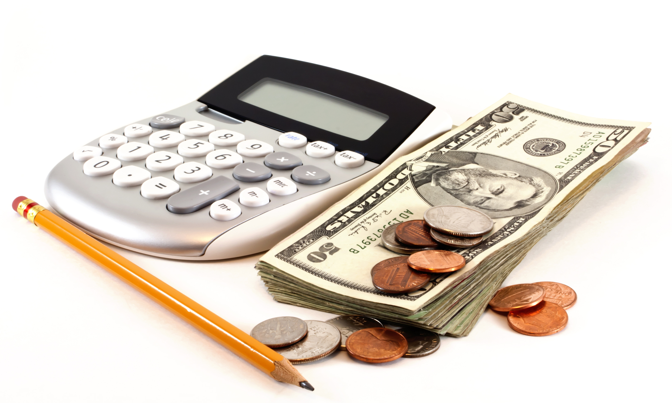 A calculator, cash, coins and a pencil