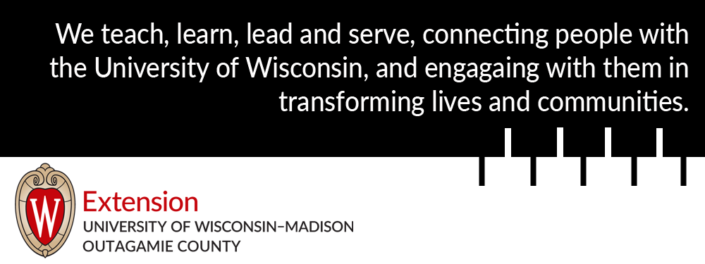 "Image reads "" We teach, learn, lead and serve, connecting people with the University of Wisconsin, and engaging with them in transforming lives and communities."" The Extension logo sits below the text."