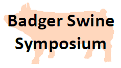 """A silhouette of a pig with the words """"Badger Swine Symposium"""" in front"""