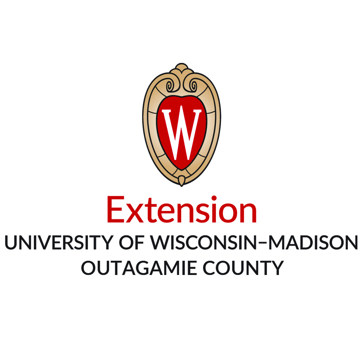 A red and gold shield with a w in the middle. The words: Extension University of Wisconsin-Madison Outagamie County