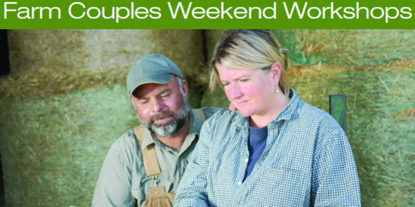 "A farm couple sit on bales of hay while looking down at a computer. The words ""Farm Couples Weekend Workshops"" appear above them."