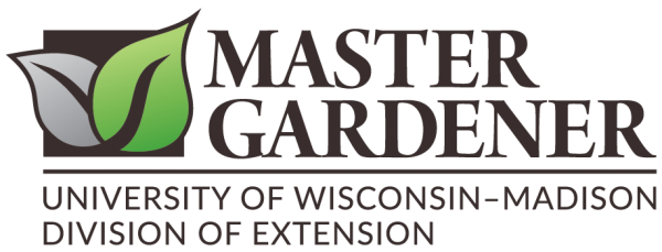 "Two leaves sit beside the words ""Master Gardener University of Wisconsin - Madison Division of Extension"""