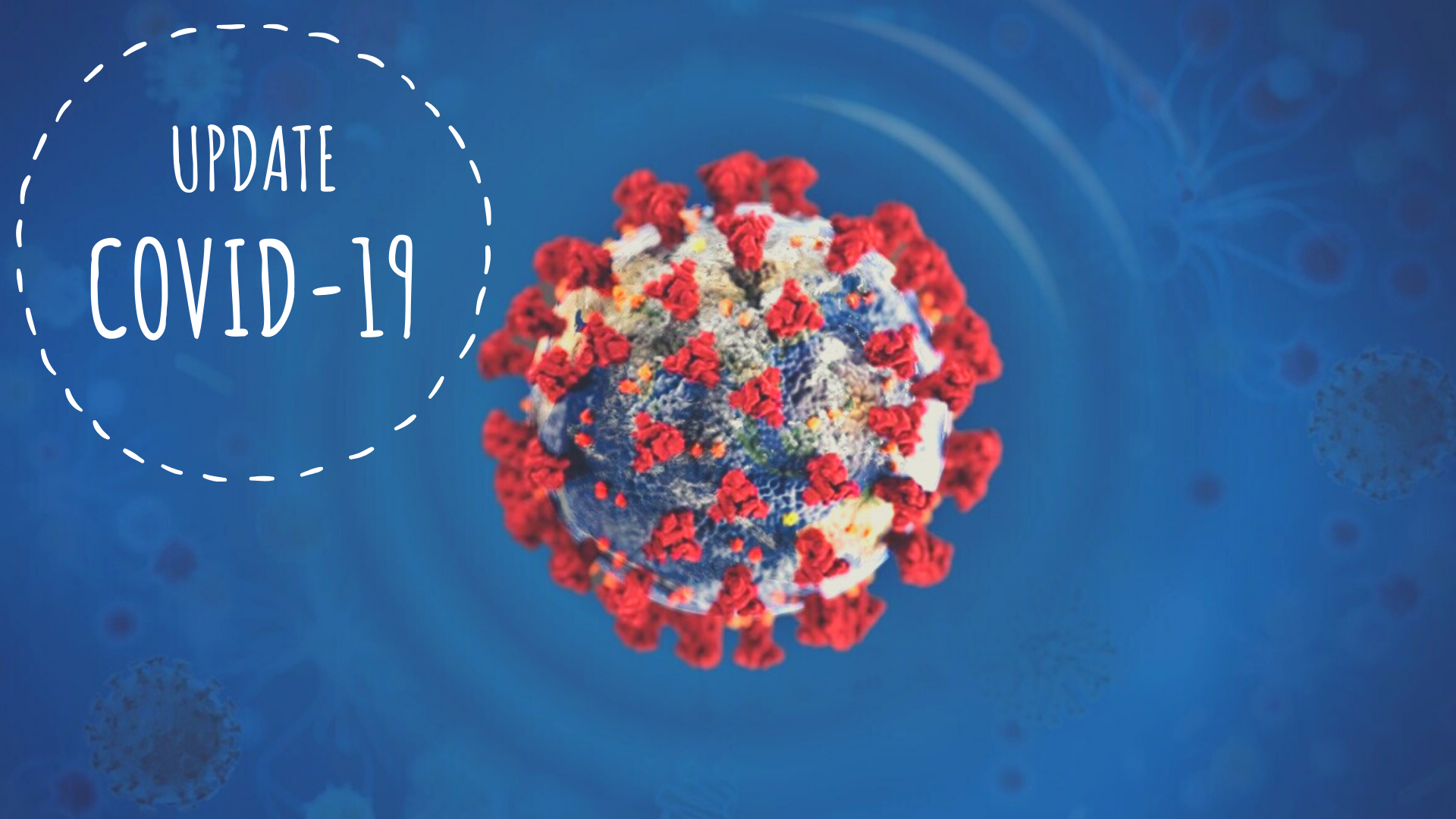 "A close up image of the COVID-19 virus with the words ""Update COVID-19"" next to it."