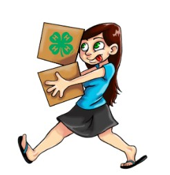 A girl is carrying two boxes one has a 4-H clover on it.