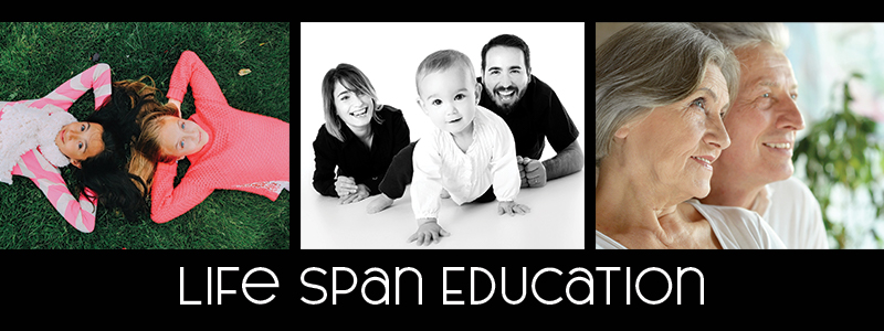 A picture of two girls, a family and an older couple above the words Life Span Education