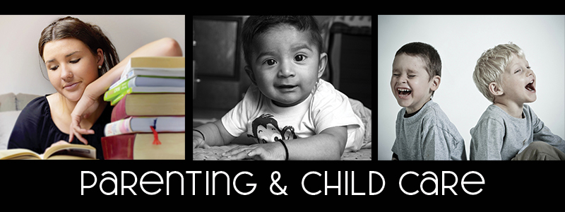 """A teen studies, a baby and two boys laughing with the words """"parenting and child care"""""""