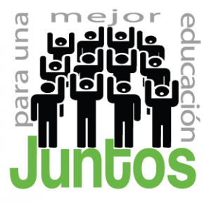 Stick figure people stand in a group with the Juntos logo